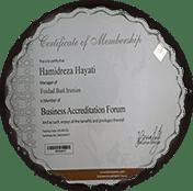 عضویت در سازمان جهانی رتبه بندی مدیران در تراز جهانی bafacademy.com) ) به آقای حمیدرضا حیاتی مدیر عامل شرکت فولادبست ایرانیان